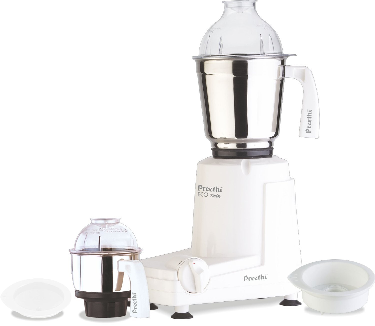 Preethi MG146 Eco Twin 2-Jar Mixer Grinder, Medium, White