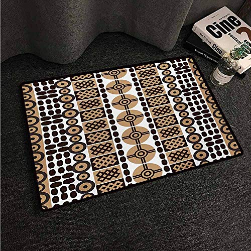 Anti-Slip Coffee Table Floor Mats Zambia,Unique Safari Artistic Kenyan Traditional Folk Symbols Culture Retro Print,Pale and Dark Brown,W35 xL59 Silky Smooth Bedroom Mats
