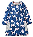 lymanchi Little Girl Long Sleeve Cute Cotton Animal Casual Striped T-Shirt Dress 909347 2T
