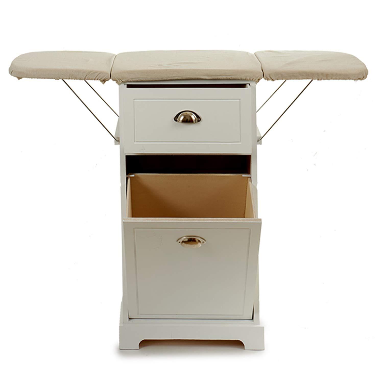 Ahorra Espacio GIFTDECOR Mueble de Madera Planchar en Color Blanco Tabla Sencilla