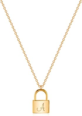 Amazon Com Vacrona A Initial Necklace For Women 18k Gold Plated Lock Necklace Initial Lock Pendant Necklace Name Letter Lock Chain Necklace Layered Dainty Initial Necklace 14k Initial Necklace Gift For Her Jewelry
