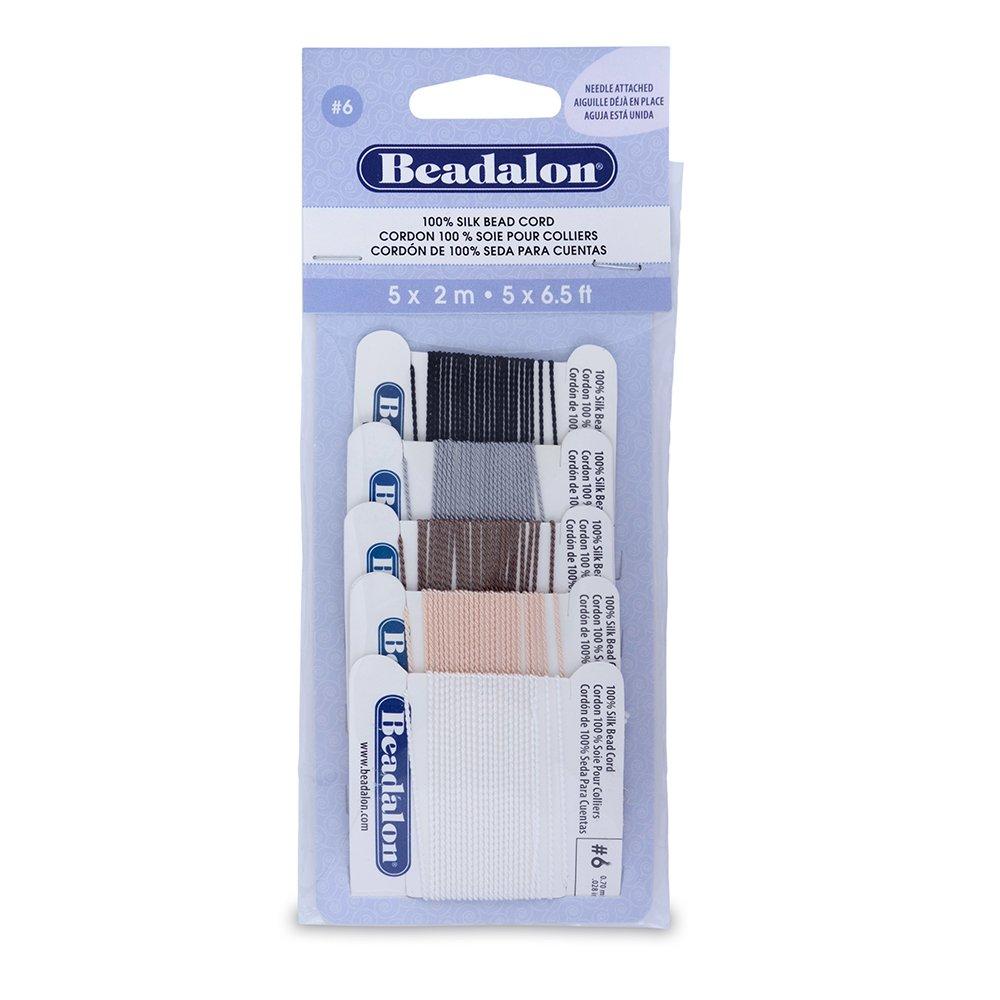 Beadalon Silk Thread, Black/White/Grey/Beige/Brown 106X-101