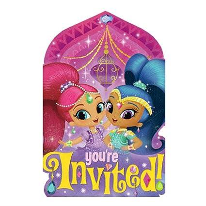 Amazon.com: Shimmer y Shine invitaciones (8) ~ Fiesta de ...