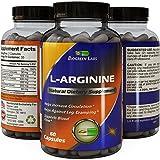 Purest L Arginine Supplement on the Market 60 Capsules - Boost Nitric Oxide Levels, Endurance & Full Time Energy Enhancement - Potent and Effective for Men, Women and Teens - Best L-Arginine