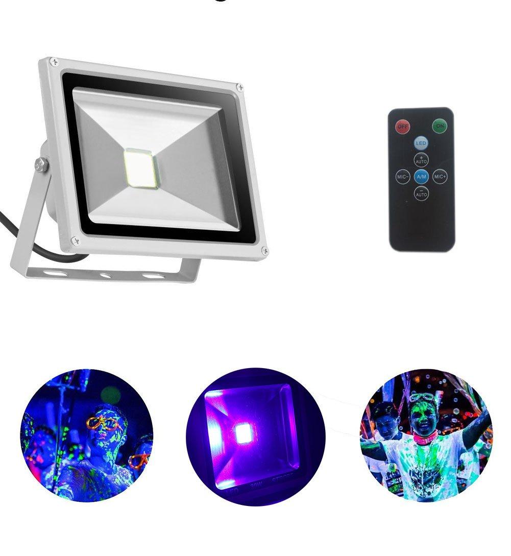 UV Led Light Blacklight 20W Ultraviolet UV Strobe Lights with Remote Auto Lighting Vioce Control Waterproof for Neon Glow Blacklight Parties Stage Light Fishing, Aquarium, Curing