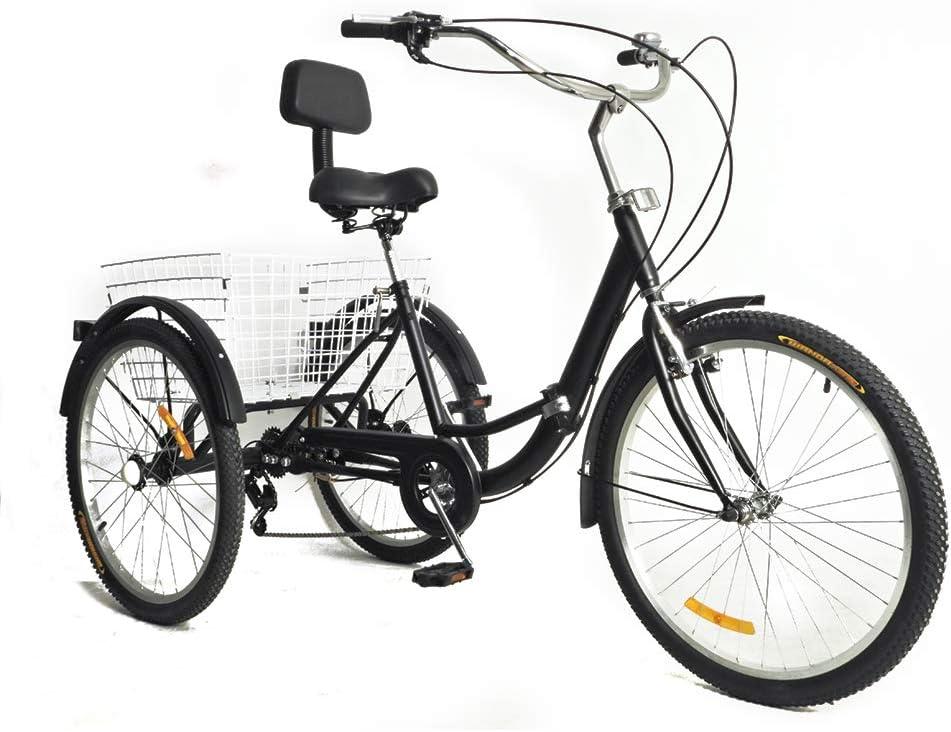 """OUKANING Triciclo Adulto 24 """"3 Ruedas 7 velocidades Color Negro con Respaldo"""