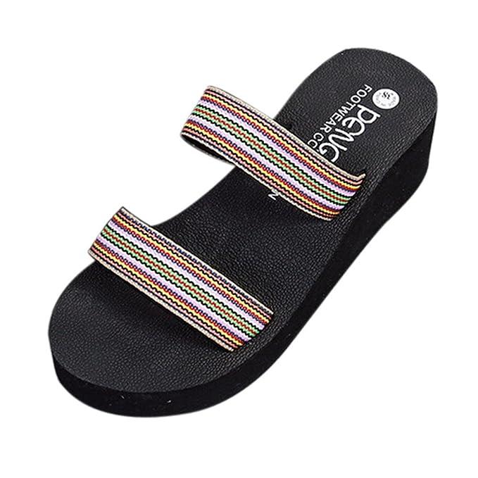 Kinlene Sandalias Zapatillas Zapatos de tacón Zapatillas de baño con Plataforma de Playa de Bohemia de Verano Zapatillas de cuña Pendientes Zapatos de ...