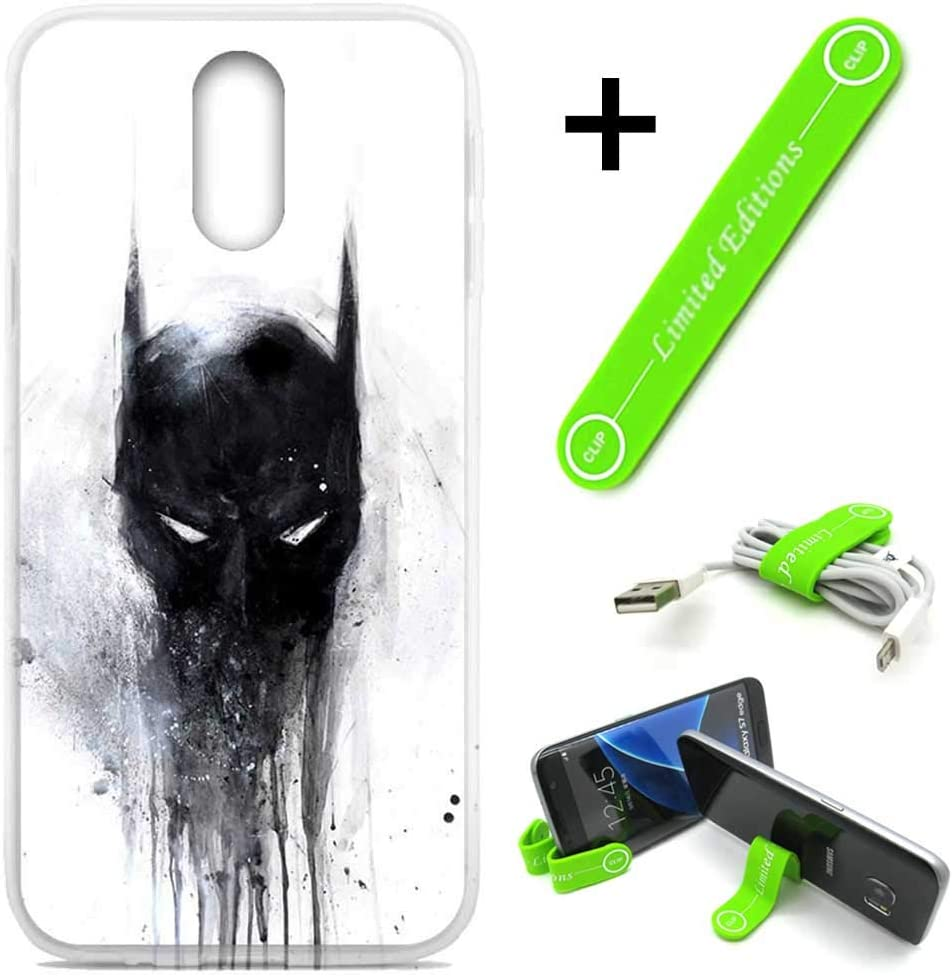 [Ashley Cases] for LG [Aristo 3][Tribute Empire][Phoenix 3,4][Rebel 3,4][Zone 4][Risio 2,3][Fortune 2] Cover Case Skin with Flexible Phone Stand - Batman Ink