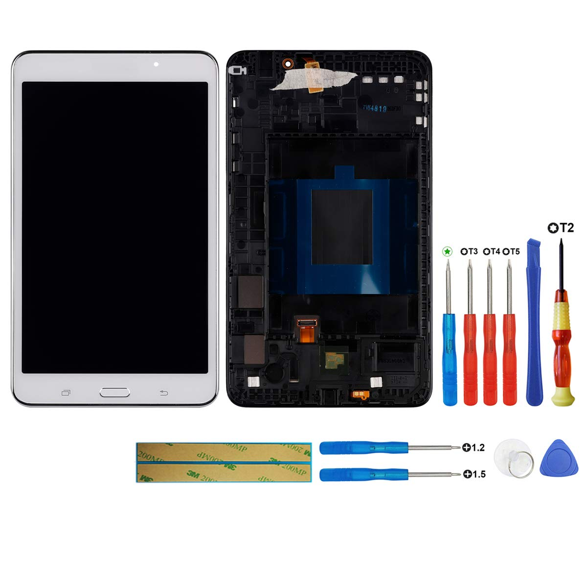 swark LCD Display Compatible with Samsung Galaxy Tab 4 SM-T230 T230 7.0 inch White with Frame Touchscreen Digitizer Assembly + Tools