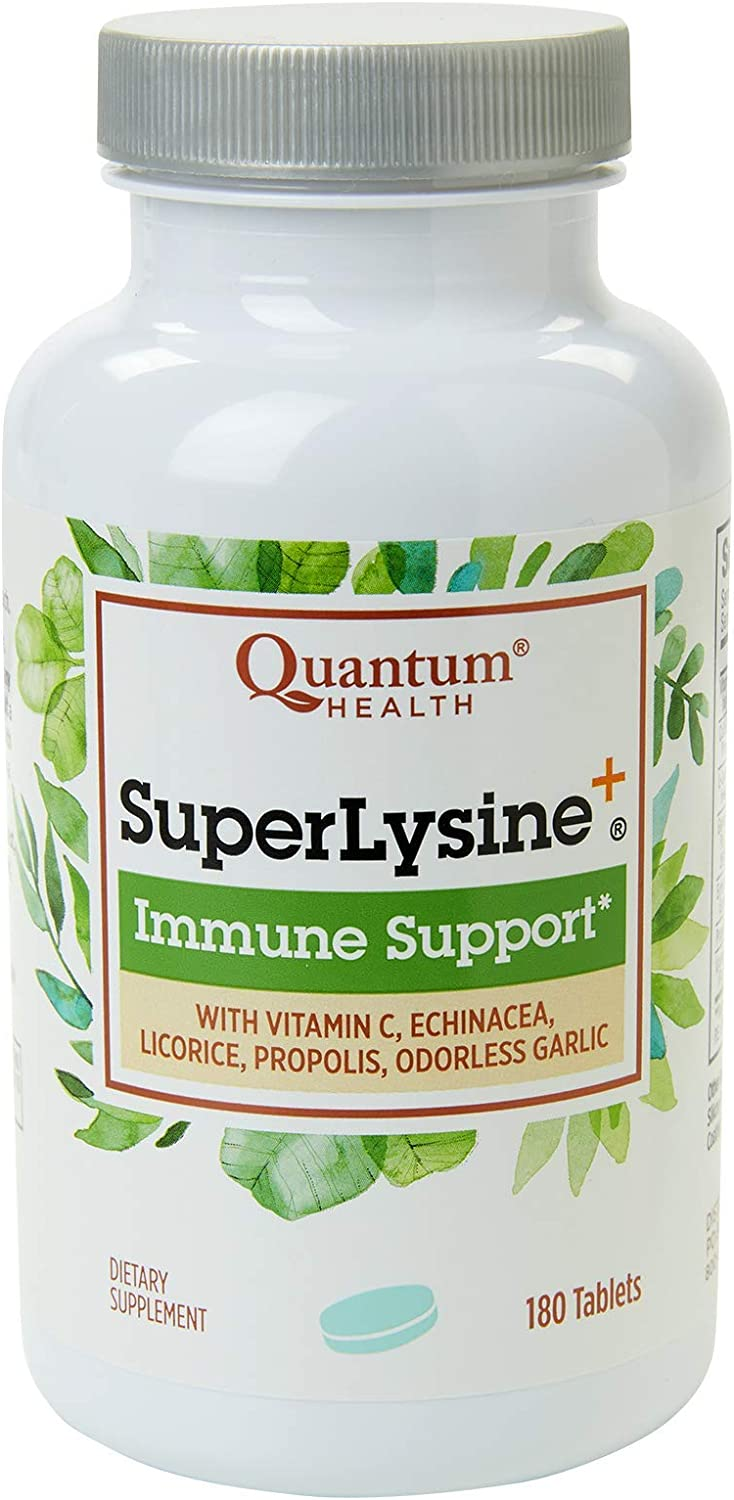 Quantum Health Super Lysine+ / Advanced Formula Lysine+ Immune Support with Vitamin C, Echinacea, Licorice, Propolis, Odorless Garlic (180 Tablets): Health & Personal Care