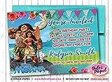 10 Elegant Princess MOANA and Maui Movie Birthday Party Invitations ANY AGE Custom