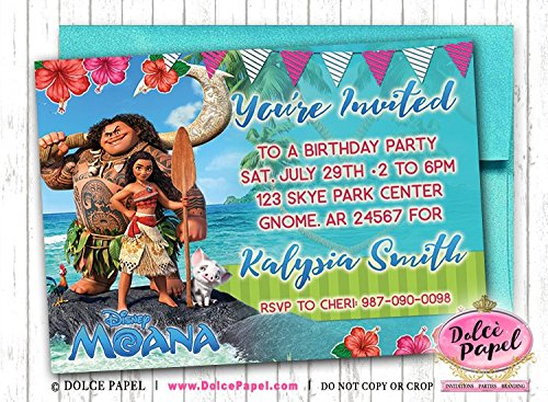 Amazon 10 Elegant Princess MOANA And Maui Movie Birthday Party Invitations ANY AGE Custom Handmade