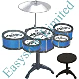 FB FunkyBuys? Children Kids Musical Instrument 10pc Jazz Drum Rock Set Christmas Xmas Gift Music Educational Toy Percussion (SI-TY1090-Blue) by FB FunkyBuys
