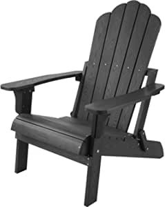 hOmeHua Hard Plastic Folding Adirondack Chair Weather Resistant, Imitation Wood Stripes, Easy to Fold Move & Maintain, Outdoor Chair for Patio, Backyard Deck, Garden, Fire Pit & Lawn Porch - Black