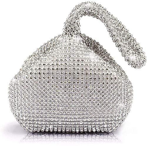 Mini Soft Triangle Design Rhinestones Clutch Wedding Purse Handbag Evening Bag Purse Clutch Pouch (Silver)