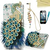 iPhone SE Case,iPhone 5S 5 Case - Mavis's Diary 3D Handmade Bling Crystal Luxury Blue Peacock with Fashion Feather Shiny Sparkly Diamonds Clear Hard Cover & Colorful Dust Plug & Pen & Screen Protector