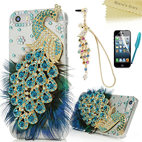 iPhone SE Case,iPhone 5S 5 Case - Mavis's Diary 3D Handmade Bling Crystal Luxury Blue Peacock with Fashion Feather Shiny Sparkly Diamonds Clear Hard Cover & Colorful Dust Plug & Pen & Screen Protector (Iphone 5 Crystal Bling Case compare prices)
