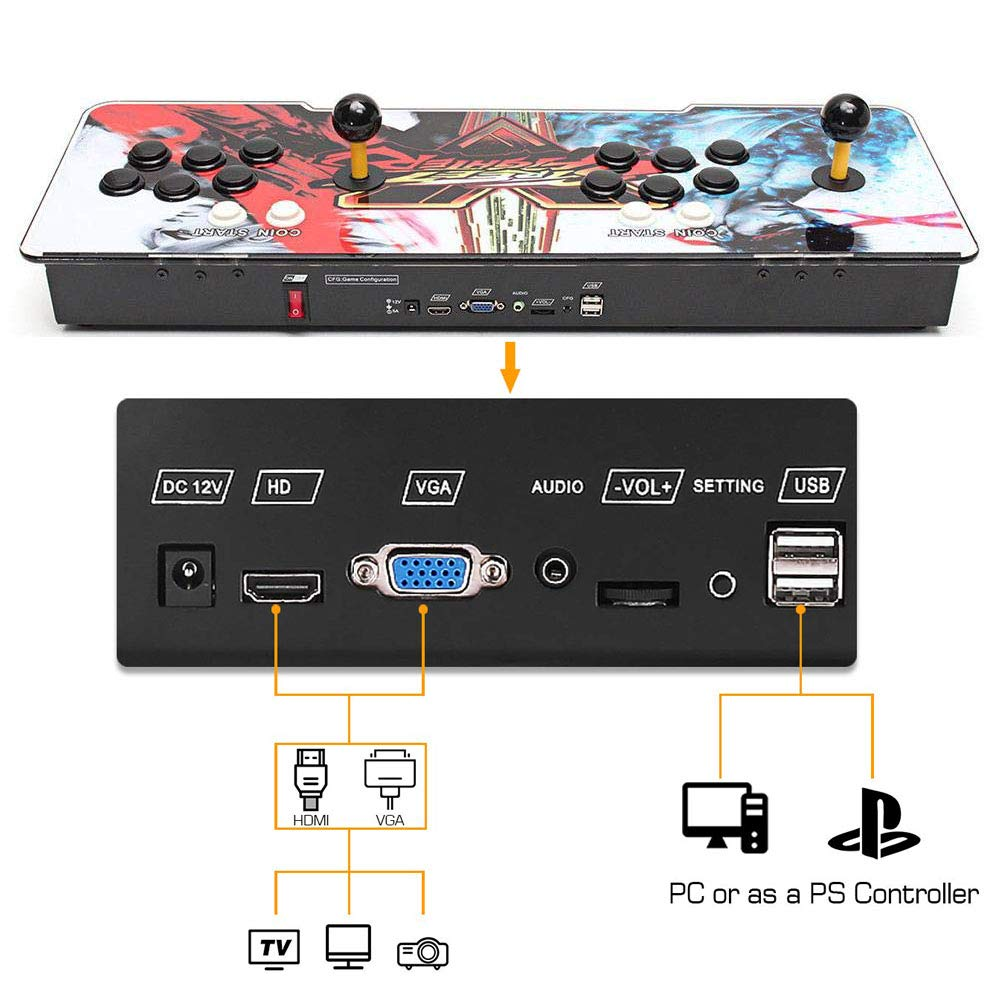 HAAMIIQII Pandora Key 7 3D Home Arcade Game Console | Support 3D Games | Add More Games | Full HD (1920x1080) Video | 2 Player Game Controls | Support 4 Players | HDMI/VGA/USB/AUX Audio Output by HAAMIIQII (Image #3)