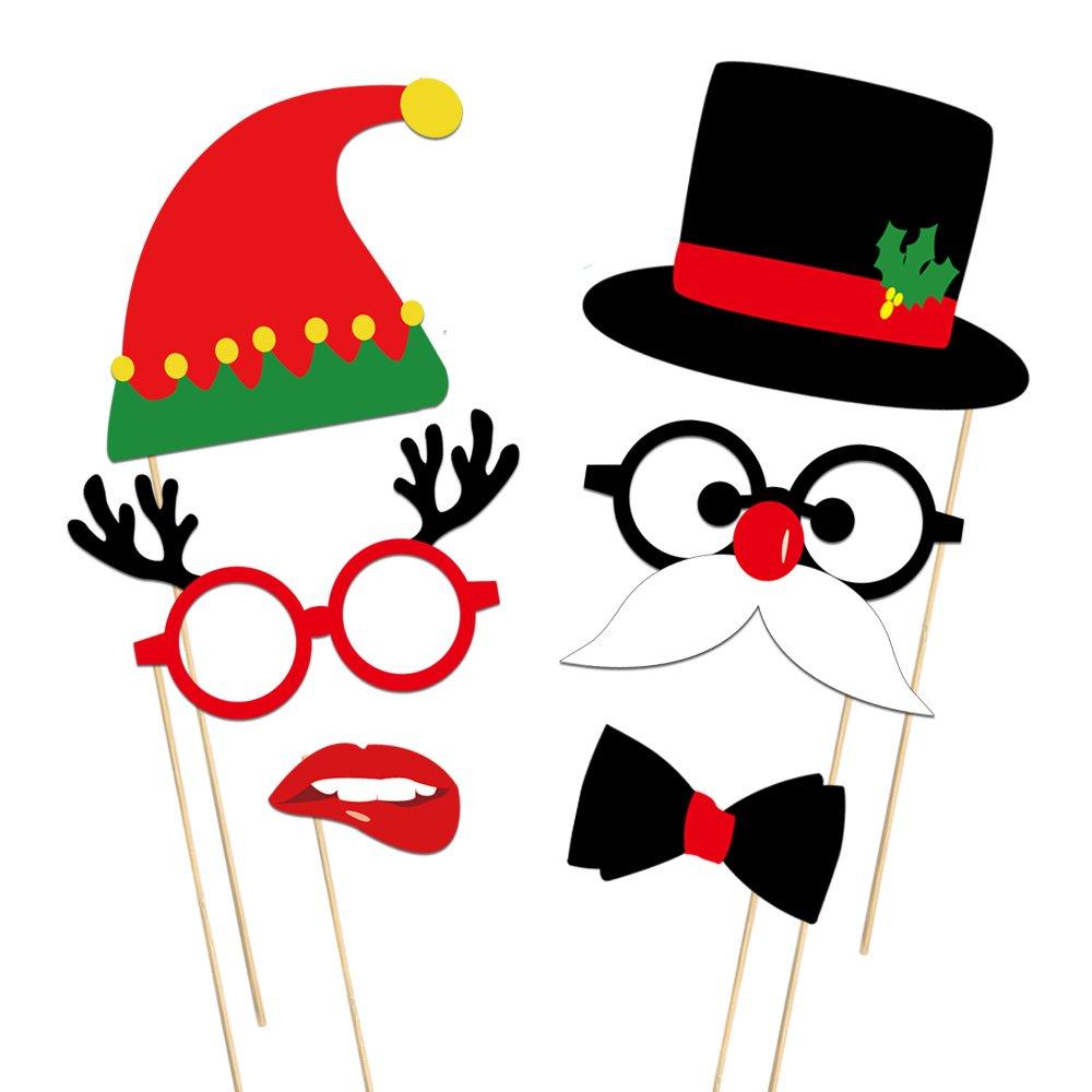 KUUQA 39 Piezas de Navidad Photo Booth Props Kit Feliz Navidad ...