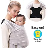ZIIDOO Baby Wrap Carrier,Easy to Wear Baby Strap,Lightweight Breathable Softness Stretchy Infant Sling,Hands Free Babies…