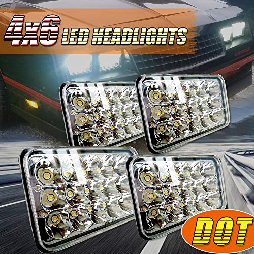 (4pcs) Dot approved 4x6 inch LED Headlights Rectangular, used for sale  Delivered anywhere in USA