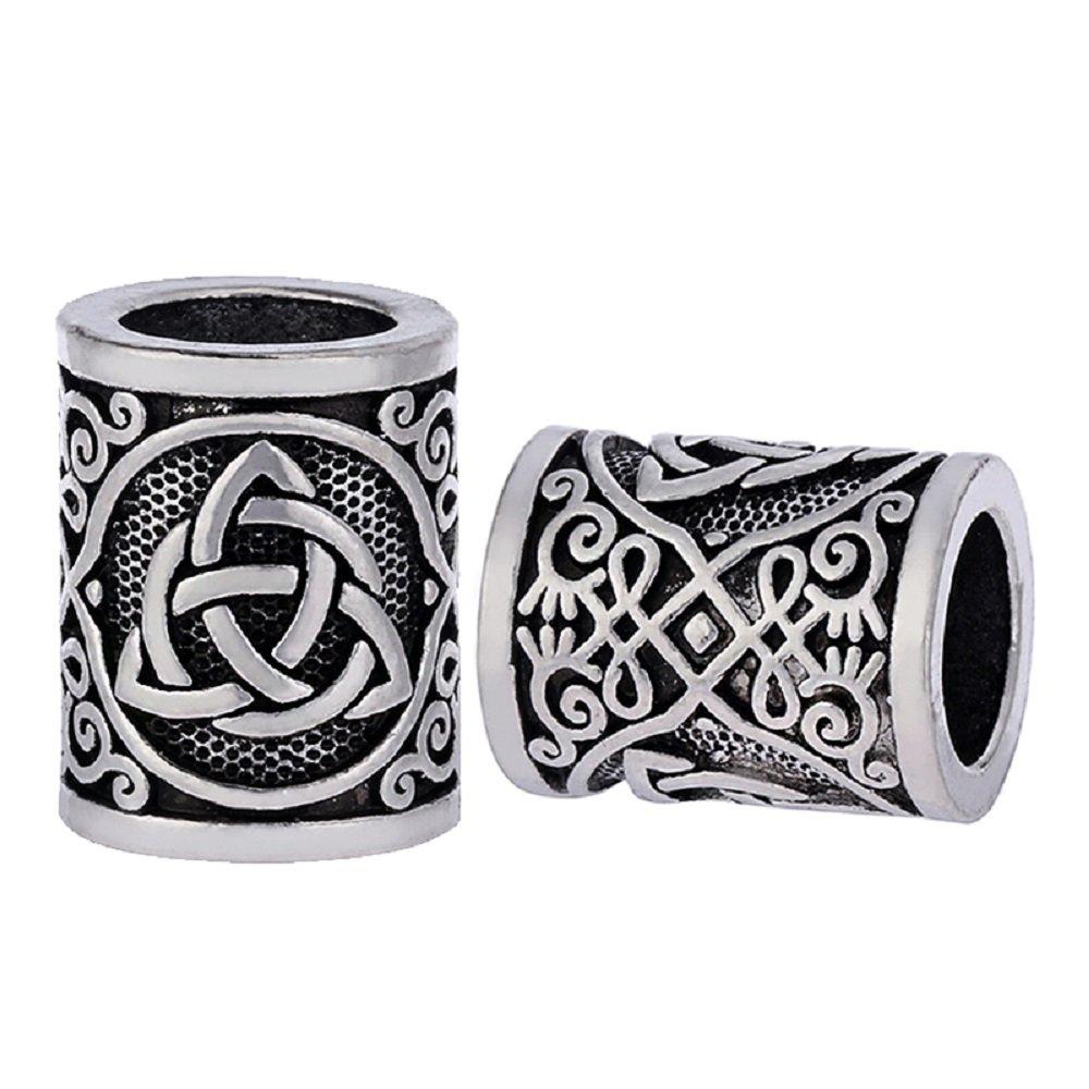 MYAROMA FINDINGS 5pcs Celtics Knots Triquetra Viking Beads Charms for Hair Beard Bracelet Pendant Jewelry Making
