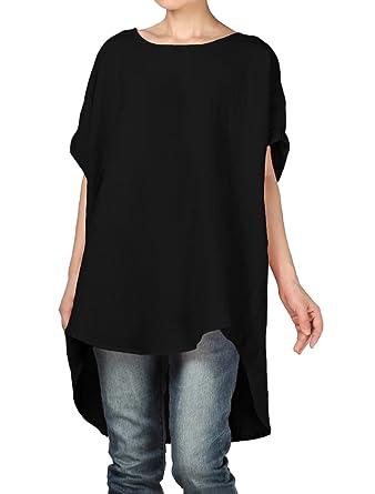 daa929a8152 Vogstyle Women's Summer Lightweight Batwing Sleeve Plus Size Tunic Tops  (Black)