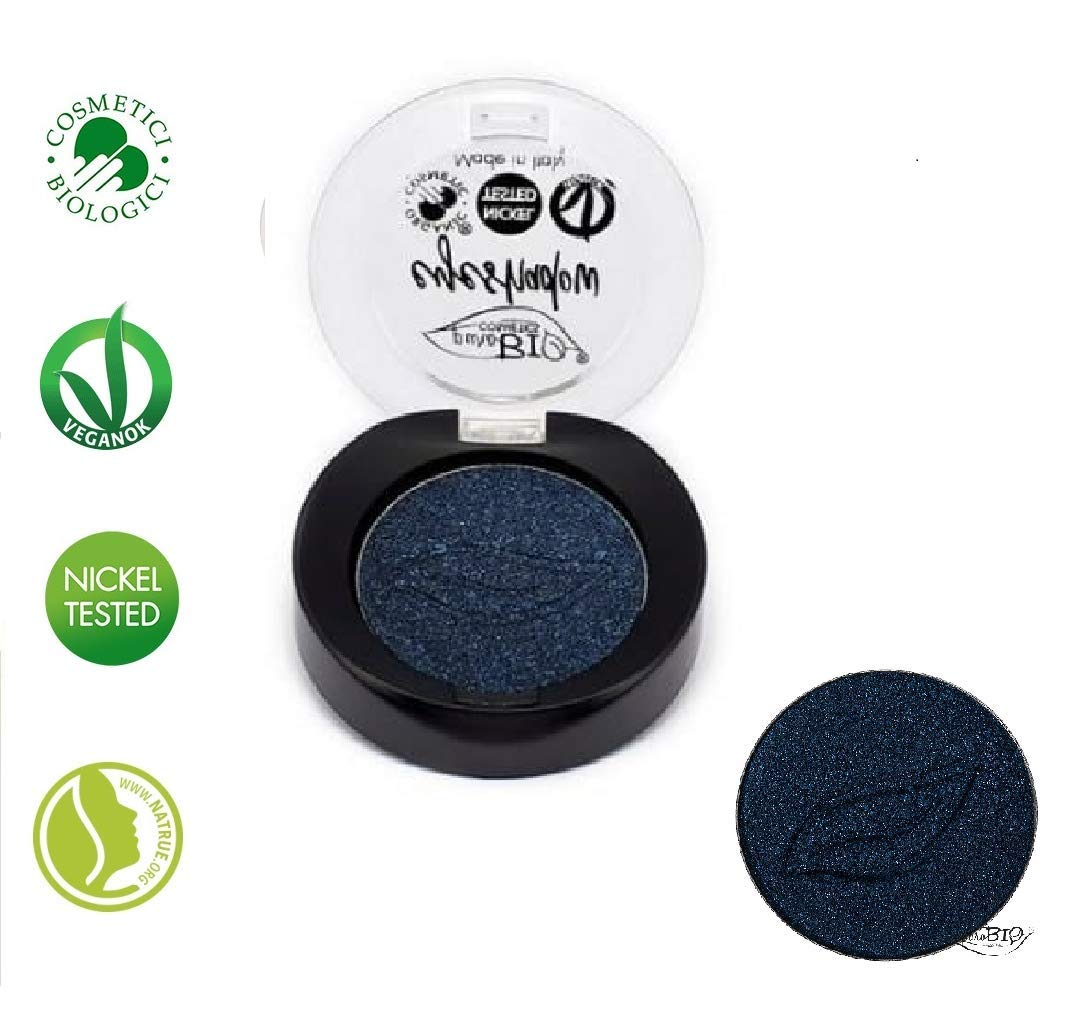 PuroBIO Certified Organic Highly-Pigmented and Long-Lasting Metallic / Duo-Chrome Eyeshadow no 20 Night Blue .With Vitamins and Plant Oils.VEGAN.ORGANIC.MADE IN ITALY.