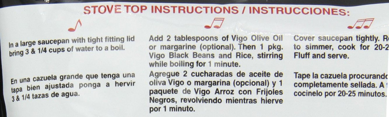 Vigo Rice Mix, 8-Ounce Pouches (Pack of 12) 5 Classic Cuban recipe complete with black beans and spices for a truly authentic flavor. Great as a side dish or served as a complete meal with the addition of your favorite meat or vegetables. Completely seasoned and easy to prepare. Ready in less than 25 minutes!