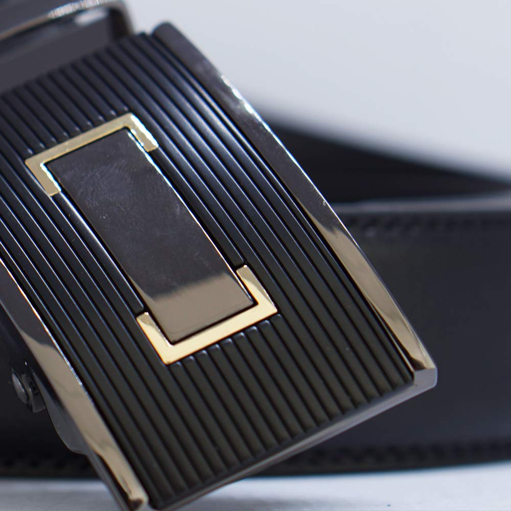 MB46-BL Behnaz Pucci Leather Automatic Buckle Men Belt BLACK