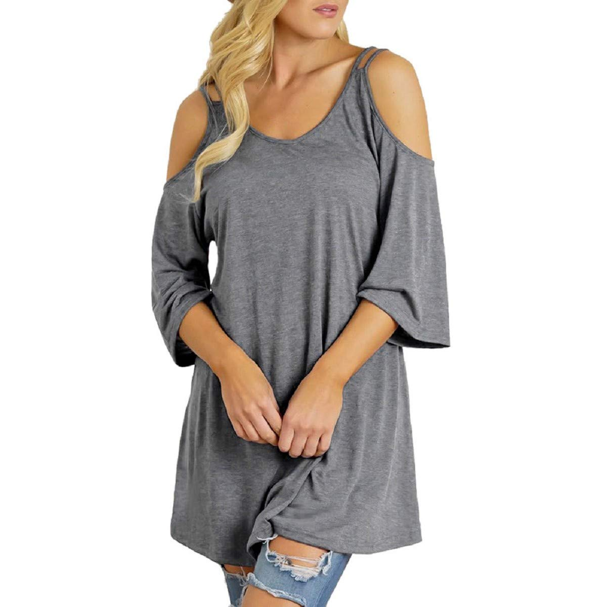 OTINICE Women Summer Short Sleeve Cold Shoulder Tunic Tops Plus Size Casual Loose T-Shirt Blouse Gray