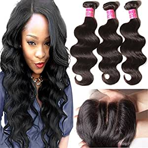 ALI JULIA 14 16 18+12 Inch Brazilian Virgin Body Wave Hair Weft 3 Bundles with 1PC 44 Three Part Lace Closure 100% Unprocessed Human Hair Weave Extensions Natural Color