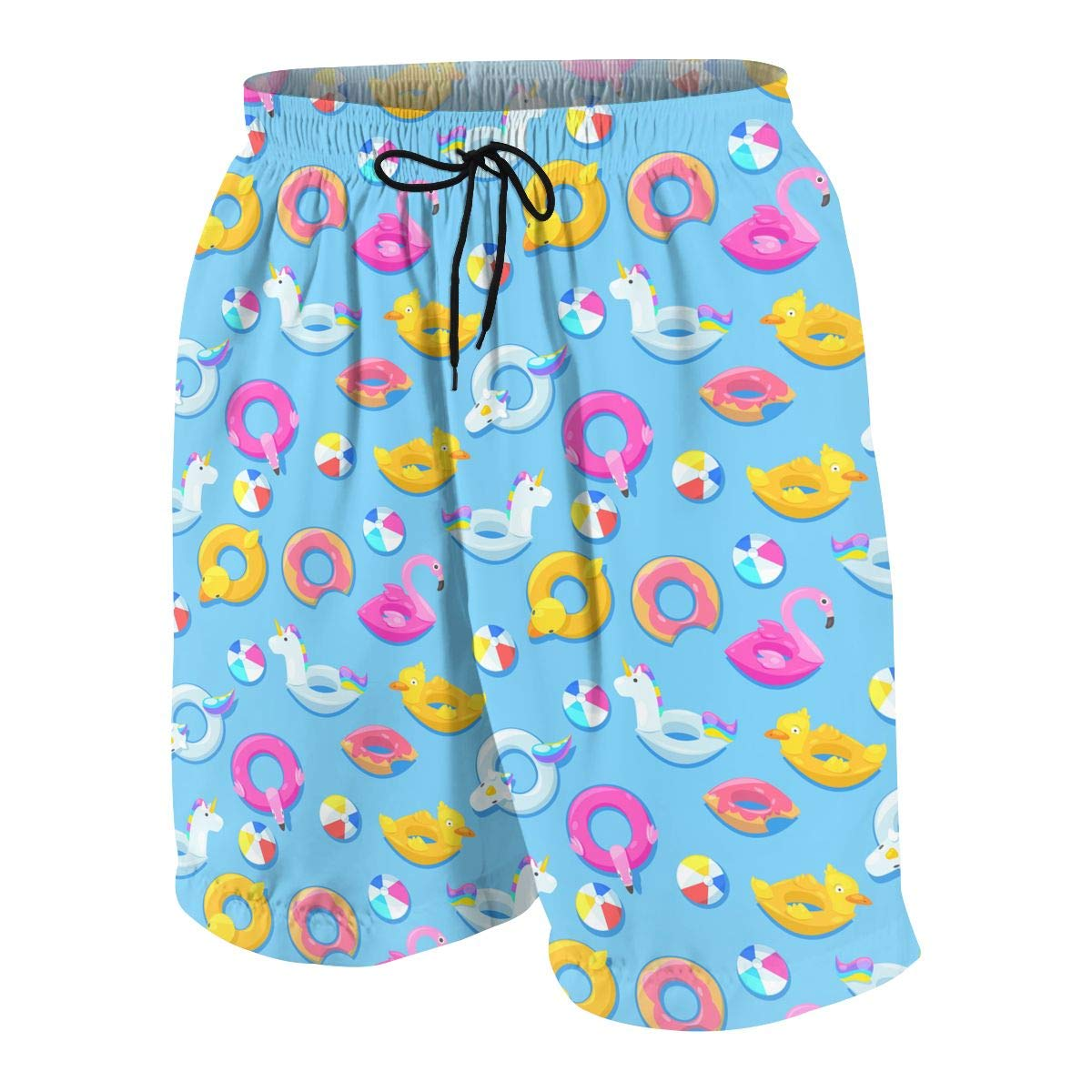GI80@KU Teen 3D Printed Beach Shorts Polyester Summer Textile Design Pattern Swimsuit with Pockets
