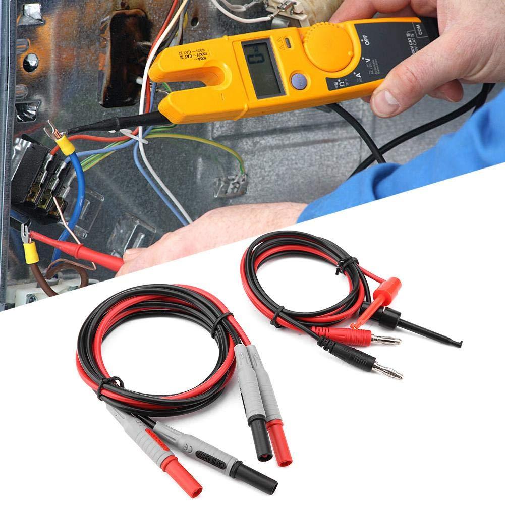 P1600E 15 en 1 Kits de cables de prueba de sonda mult/ímetro reemplazables conectables Clip de cocodrilo Cable de prueba BNC con aguja puntiaguda Kits de cables de prueba de conector banana de 4 mm