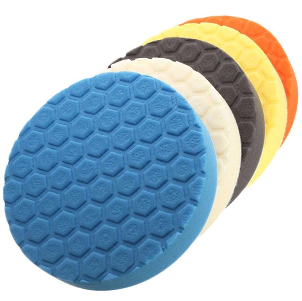 Chytaii Car Auto Buffing Polishing Sponge Pads Kit Set For Car Polisher Buffer 180MM (7 Inch) 5Pcs