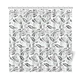 WIEDLKL Home Decor Bath Curtain Batik Indonesia Walang Geometric Javanese Culture Polyester Fabric Waterproof Shower Curtain For Bathroom, 72 X 72 Inch Shower Curtains Hooks Included