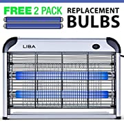 #LightningDeal LiBa Bug Zapper Electric Indoor Insect Killer Mosquito, Bug, Fly Killer - Powerful 2800V Grid 20W Bulbs - 2-Pack Replacement Bulbs Included