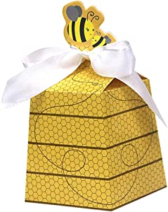 24 Ct Cute Girl Boy Baby Shower Favor Yellow Honey Bee Paper Treat Bag Beehive Bowknot Favor Box for Candy Gift Wrapping Gender Reveal Birthday Wedding Decoration