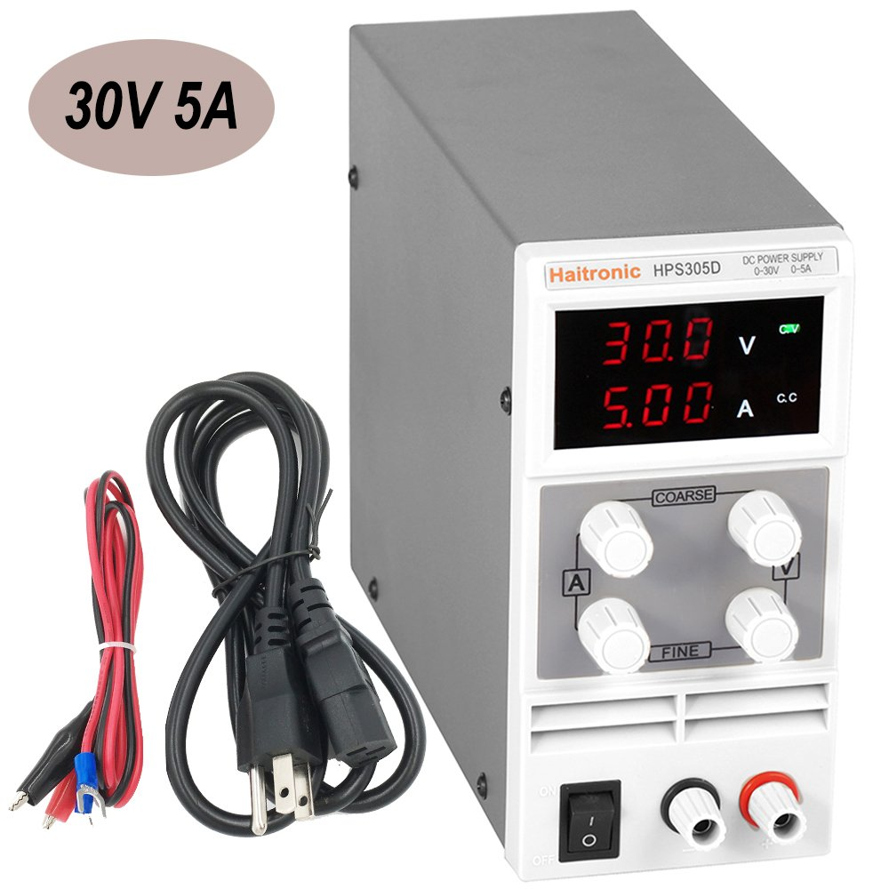 Haitronic HPS305D, DC 30V 5A adjustable switching DC Power Supply, AC 110V input, precise variable DC 0~30V @ 0~5A output, 3 Digital Display with Alligator Cable and Power Cord