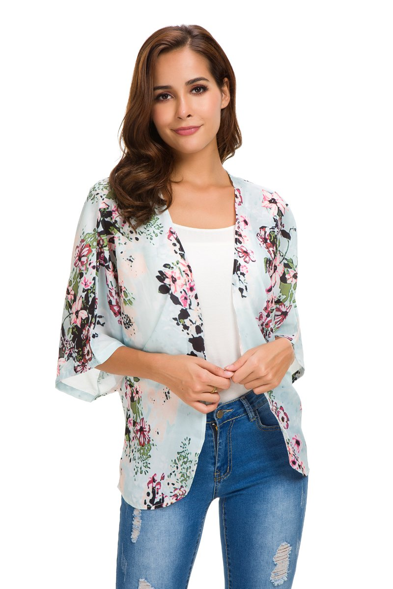 NB Women's Short Sleeve Beachwear Sheer Chiffon Kimono Cardigan Solid Casual Capes Beach Cover up Blouse (S, Mint) by NB