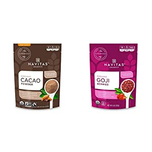 Navitas Organics Cacao Powder, 8oz. Bag — Organic, Non-GMO, Fair Trade, Gluten-Free & Power Dried Berries - Goji - 4 oz