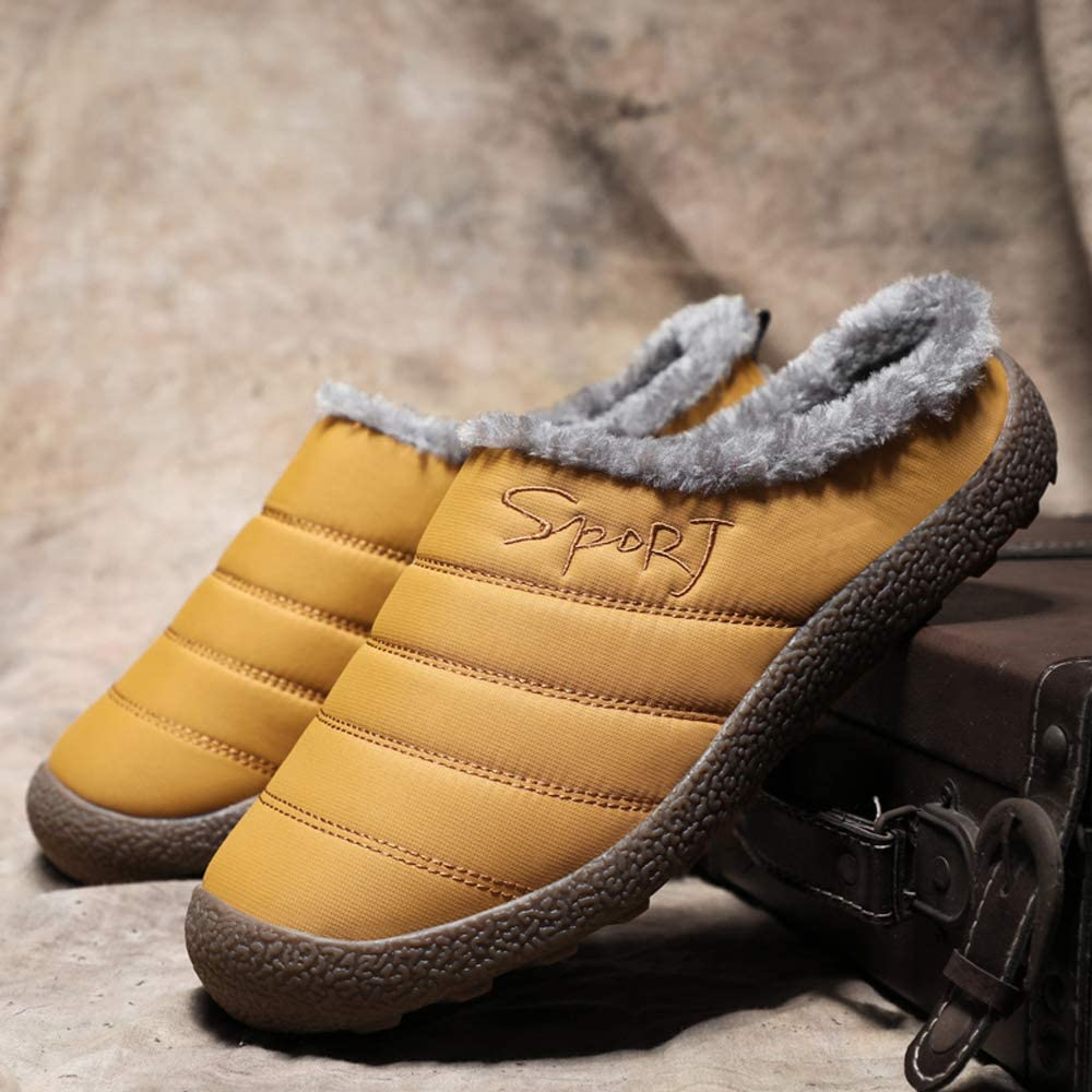 Mens Womens House Slippers Fuzzy Plush Lining Winter Warm Shoes for Indoor Outdoor with Anti-Skid Rubber Sole
