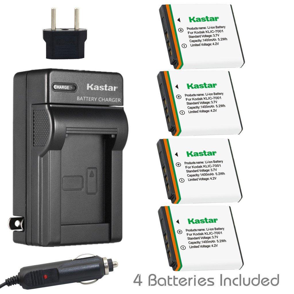 Kastar充電器、バッテリーfor klic-7001 – 1 klic-7001 K7001 B01023OYKQ  4 batteries + 1 charger