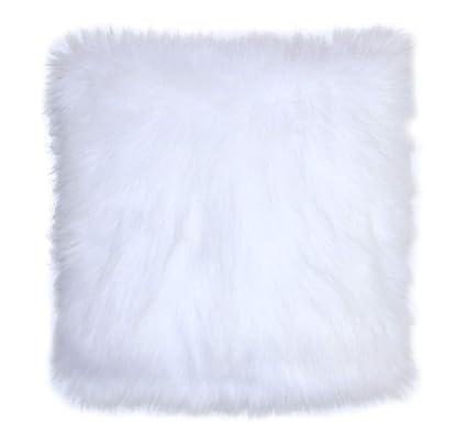 Amazon Com Faux Fur Pillow Cover Arctic Fox White 18 X 18 In Set