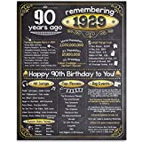 90th Birthday Poster (Ninety, 90) - Remembering The Year 1929-11x14 Unframed Art Print - Makes a Perfect Birthday Decoration Under $15