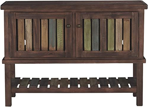 Signature Design by Ashley – Mestler Rustic Console Sofa Table, Brown Multi Colored Shelves