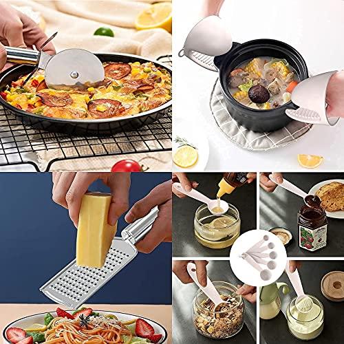 Silicone Kitchen Cooking Utensil Set, 28 Pcs Kitchen Utensil Set Silicone Cooking Utensils for Nonstick Cookware, Heat Resistant Kitchen Gadgets Utensil Set,Wooden Handle Spoons Spatulas Set (Khaki)
