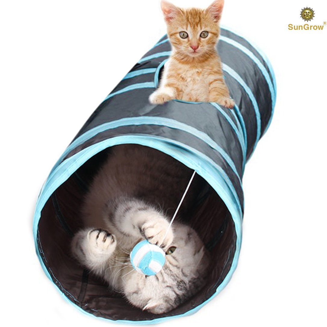 Collapsible Cat Tunnel - Interactive Play Toy with Peep Hole and Crinkle Ball - for Hiding, Hunting and Resting - Confidence Booster & Health Enhancer - Ideal for Multi-cat and Independent Play by SunGrow