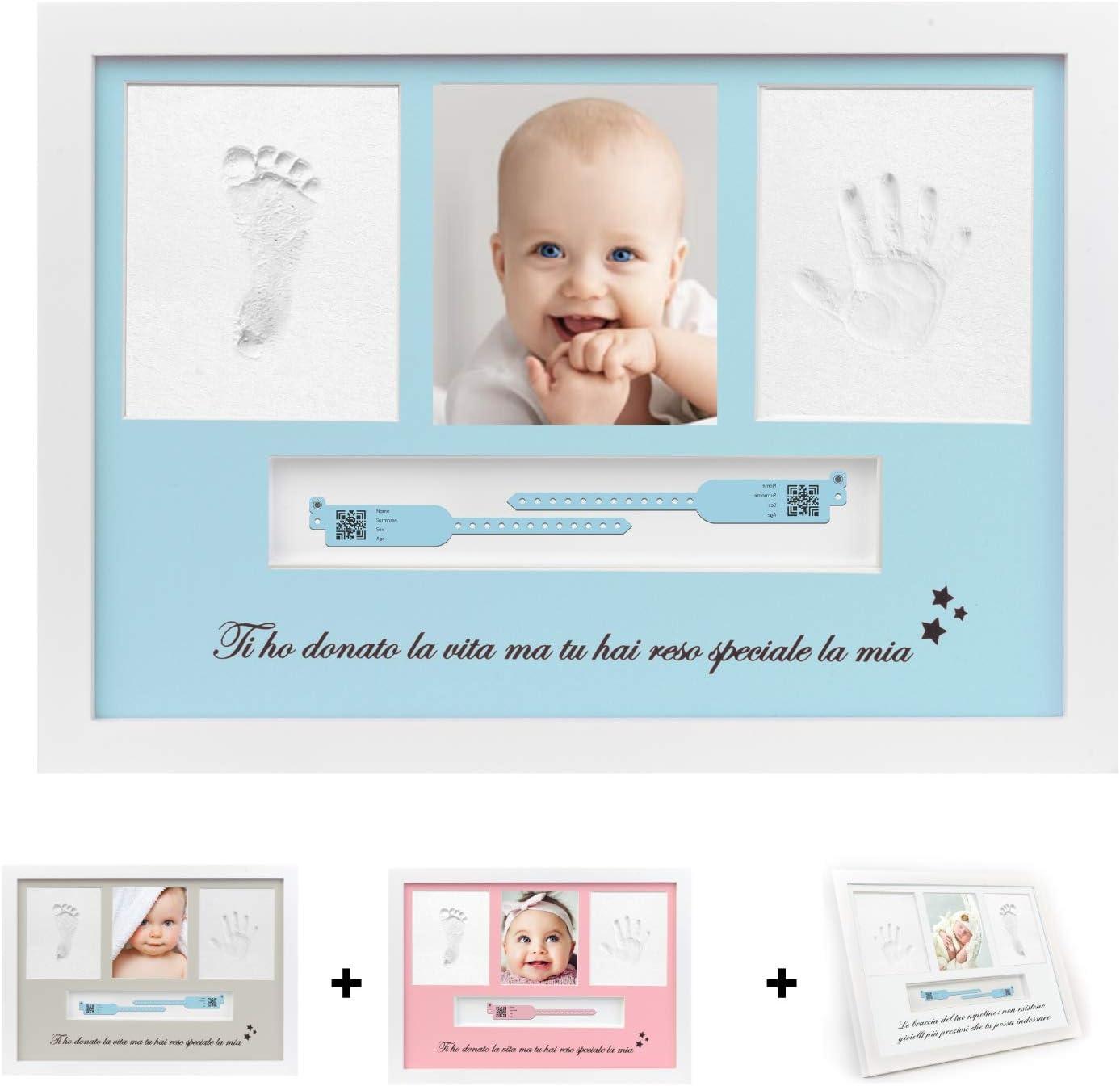YOUBABY - Marco de huellas de bebé, diseño de huellas de manos y pies de bebé, regalo para recién nacido, bautizo de bebé, nacimiento de niño, brazalete para bebé, idea regalo de Navidad