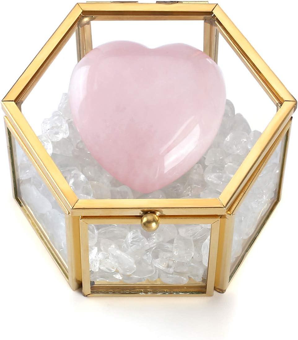 JSDDE - Joyero de cristal transparente de cuarzo rosa con caja de cristal